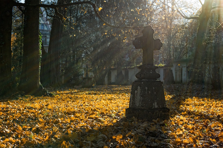 Cemetery in fall.