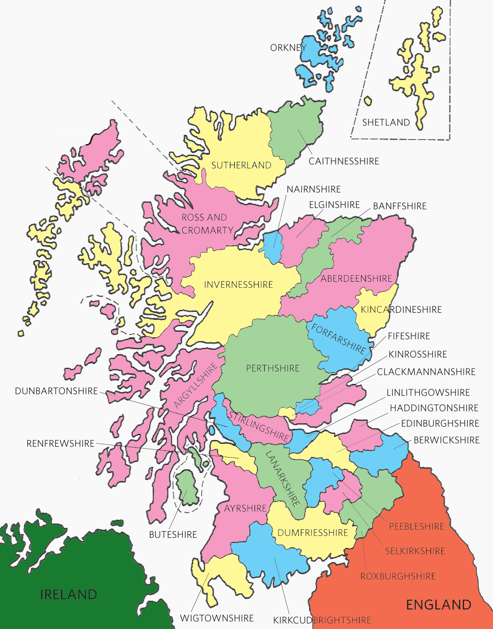 This Scottish counties map will help you find records of your Scottish ancestors.