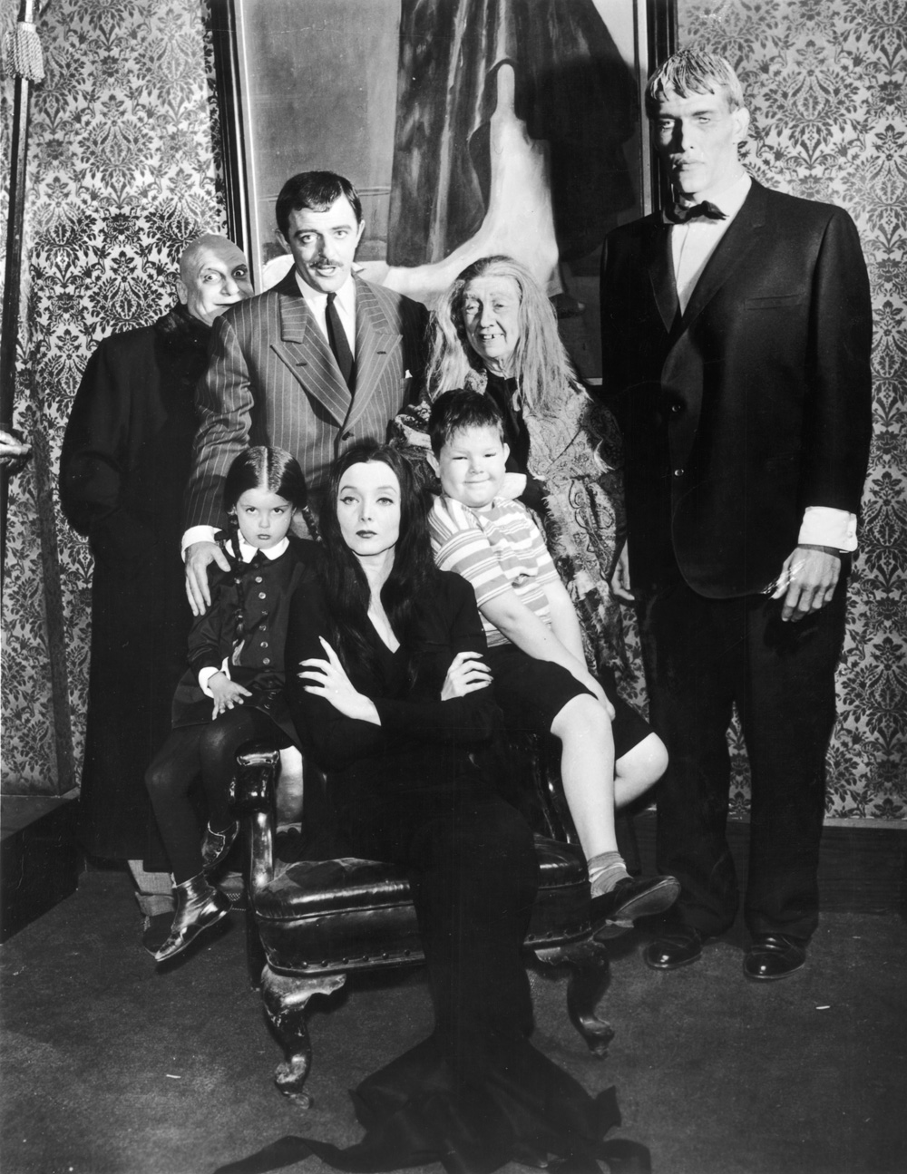 """The simple Addams Family tree includes husband-and-wife Gomez and Morticia, children Pugsley and Wednesday, """"Grandmama,"""" Uncle Fester and the butler, Lurch."""