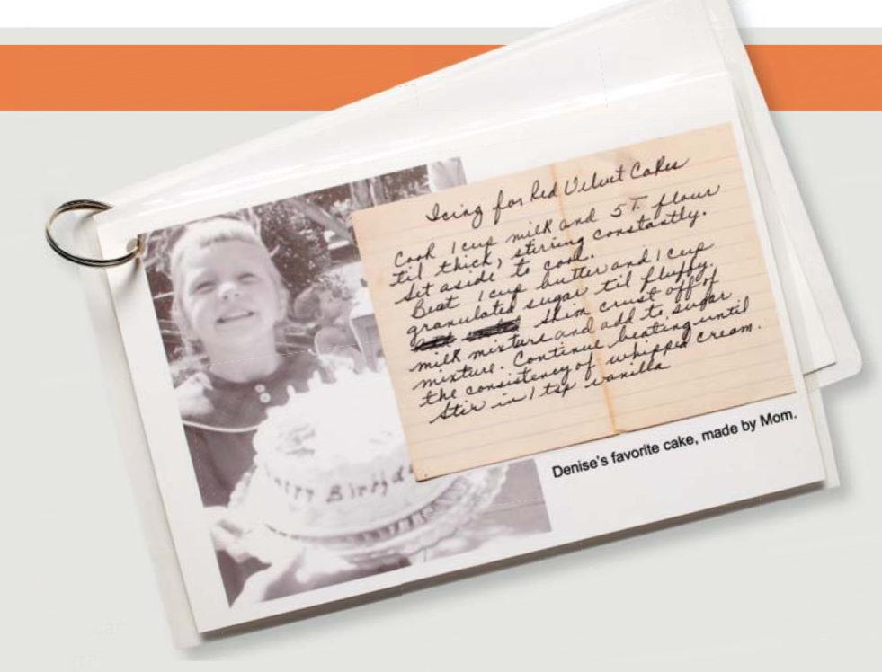 Family history recipe cards.