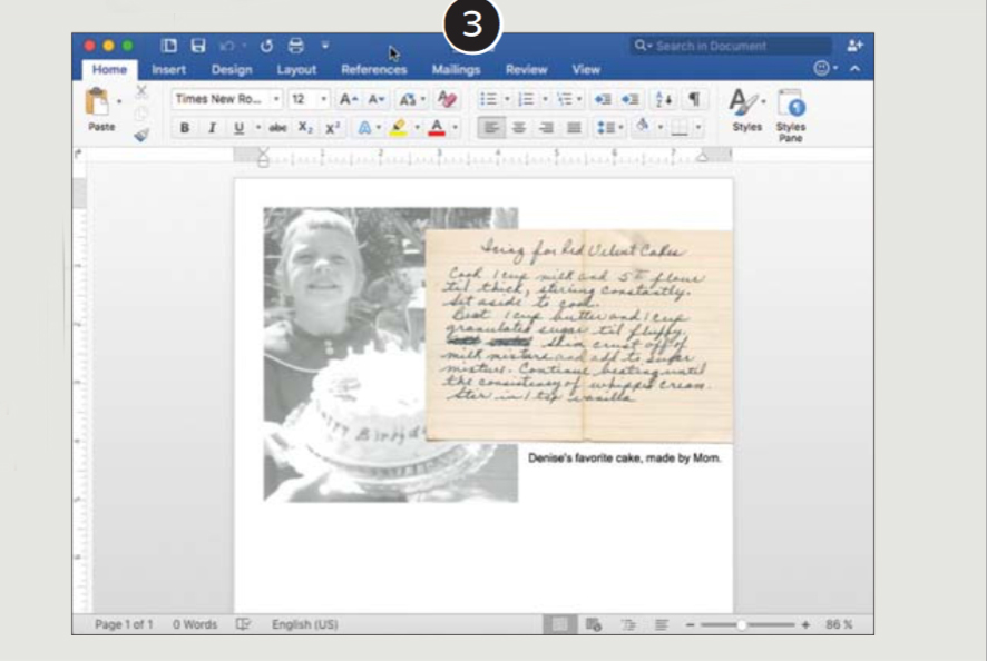 Using Microsoft Word to create family recipe cards.