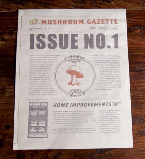 The Mushroom Gazette page 1.