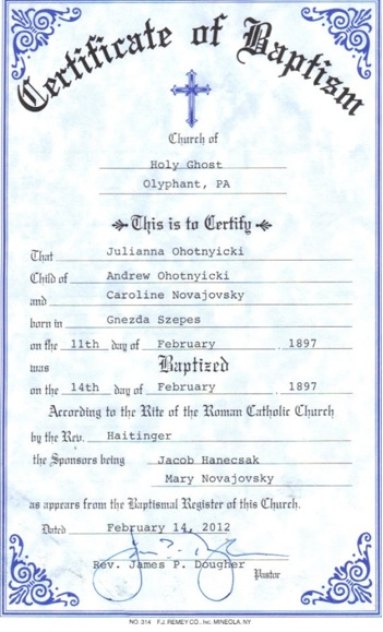 Example of a baptismal certificate.
