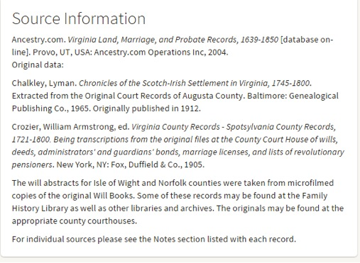 """Screenshot shown here for Ancestry.com's database, """"Virginia Land, Marriage and Probate Records, 1639-1850."""""""