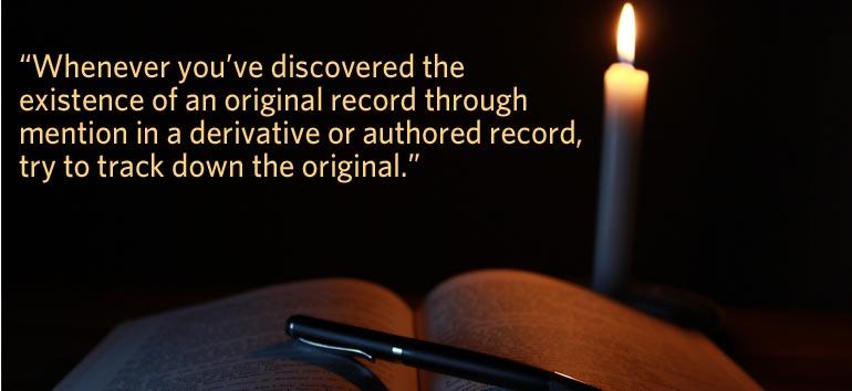 Evaluating sources: original records