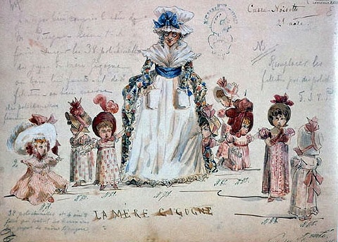 Original sketch of Mother Ginger and her Polichinelles.