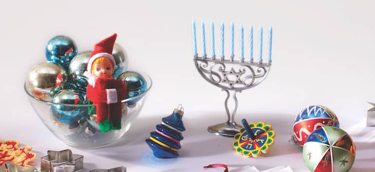 Holiday decorations and heirlooms on a white background.