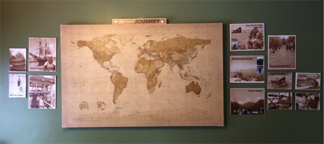 Family history displays with maps and photos.