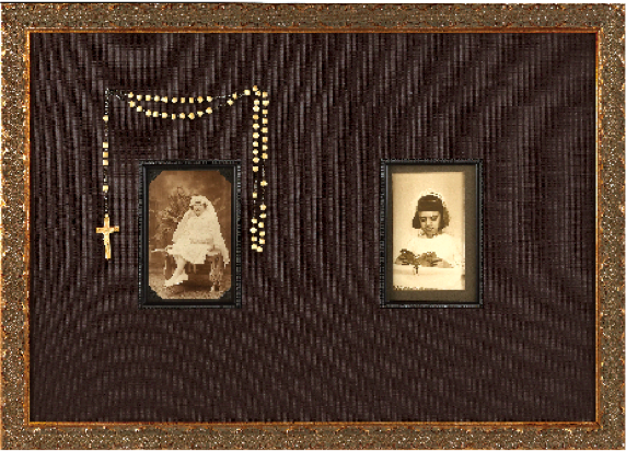 Family history displays with old photos, heirlooms, and letters.