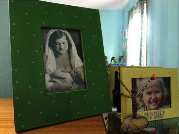 Family history displays using old and new photos.
