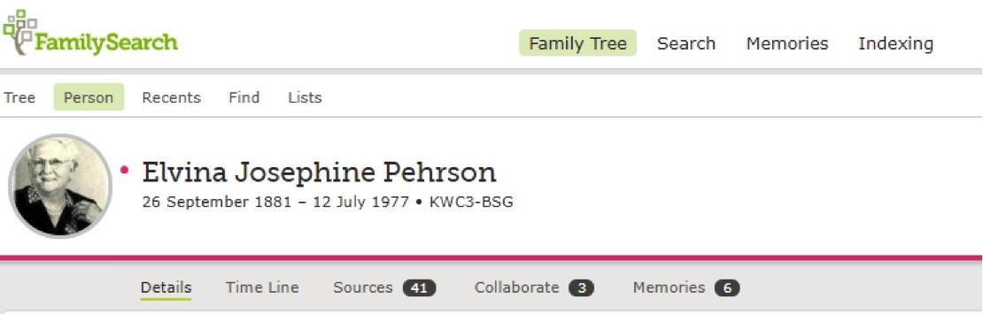 Ancestor profile on FamilySearch