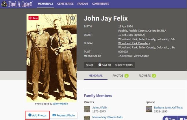 Ancestor profile on FindAGrave.