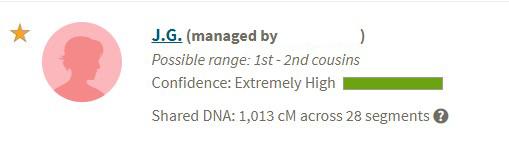 Screenshot of the Ancestry DNA match.