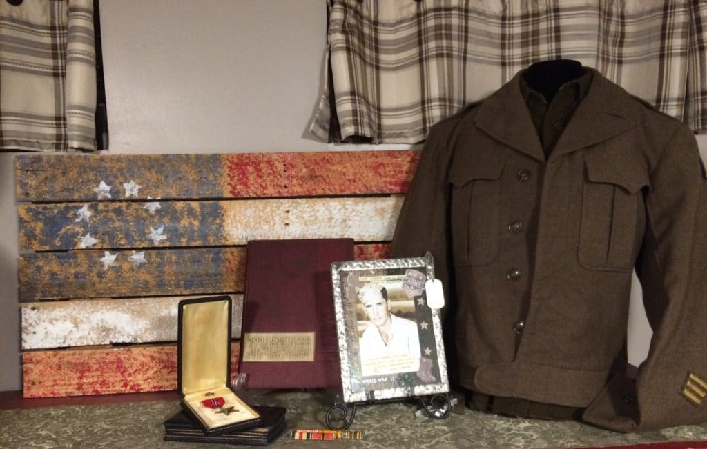 An example of military heirlooms displayed at home.
