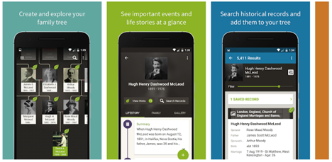 Screen shot of Ancestry.com app, one of six genealogy mobile apps we reviewed.