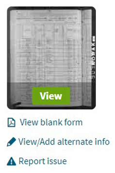 Screenshot of Ancestry.com's View/Add option to correct record errors.