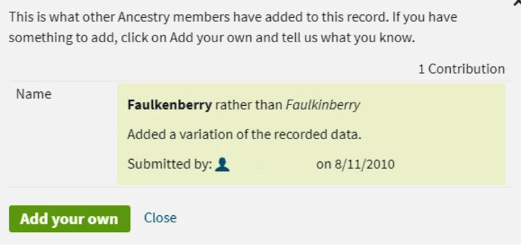 Screenshot of Ancestry.com's Add Alternate Info option to correct record errors.