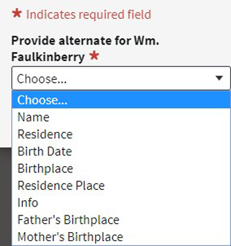 Screenshot of Ancestry.com's Add Your Own option to correct record errors.