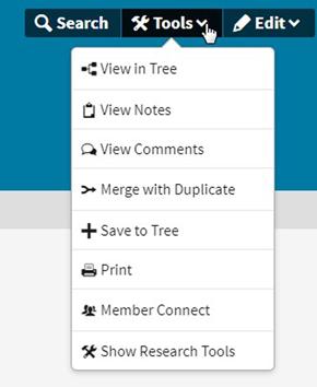 Screenshot of Ancestry.com Tools menu for correcting record errors.