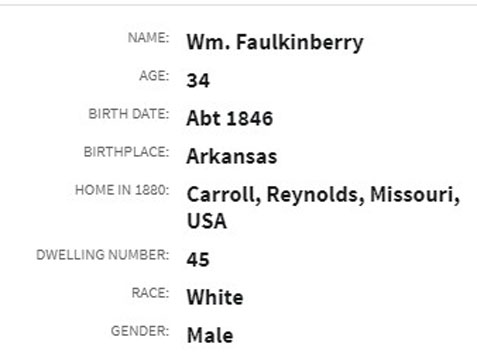 Ancestry.com online record summary showing incorrect surname due to transcriber error.