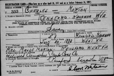 Finding the same name for different people in old records (draft card example 2).