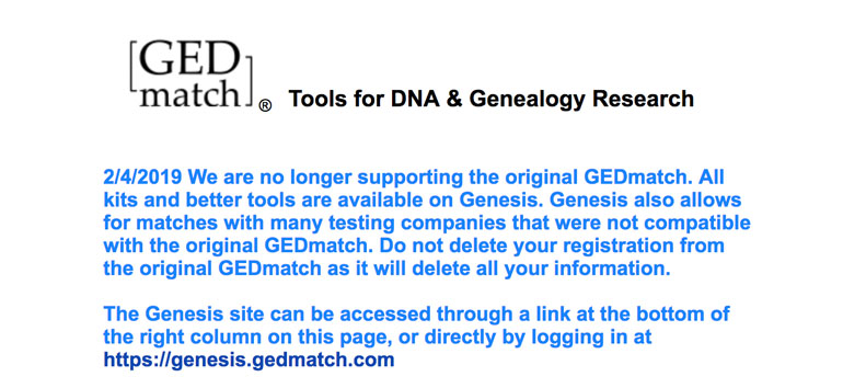 In early February, users were notified of the GEDmatch-Genesis migration.