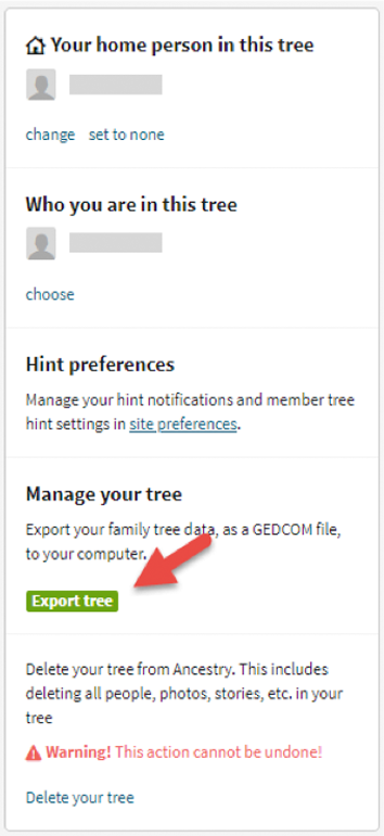 Step 4 for downloading a GEDCOM file is shown here: Export Tree.