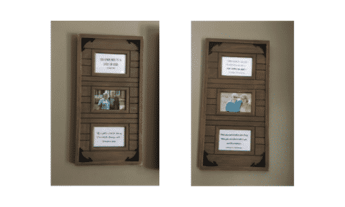 Family photos in decorative frames.