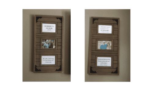 Family photos in decorative frames.