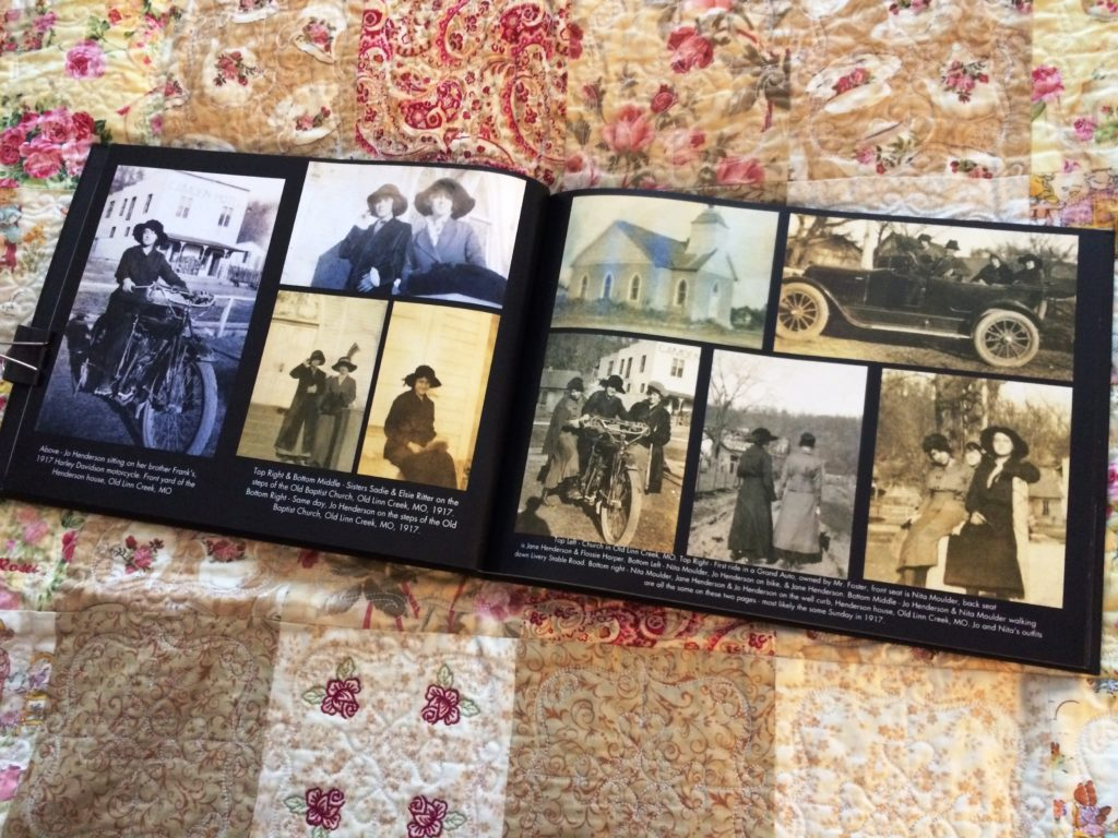 Interior pages of photo-heavy family history book.