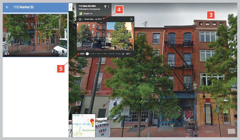 View an address at present or at an earlier date using Google Maps.