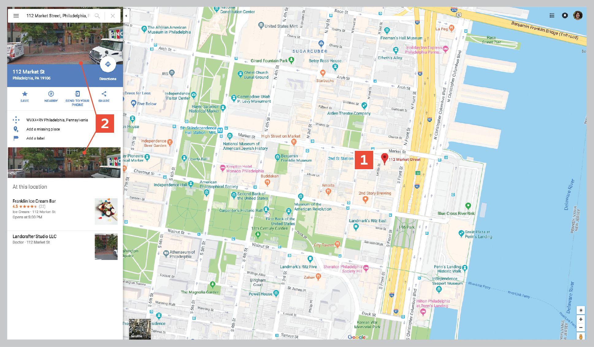 Begin using Google Maps for genealogy by searching for an ancestral location, then clicking the image to go to Street View.