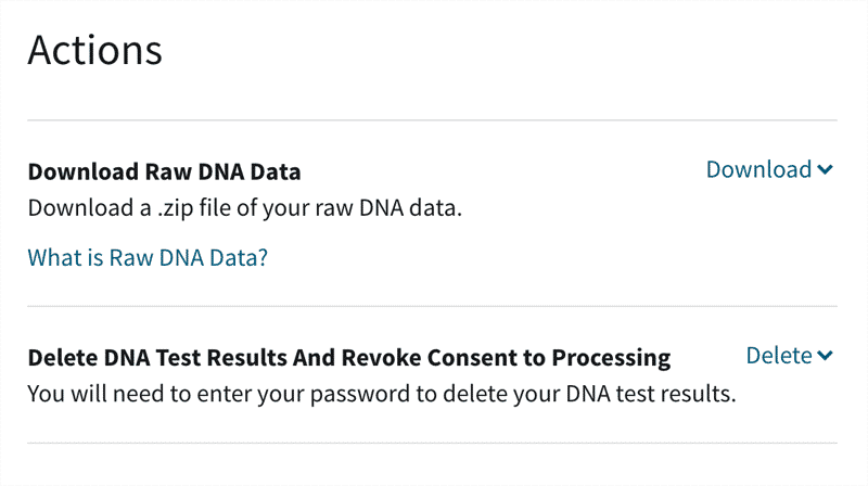 Screenshot of AncestryDNA page where you can select to download or delete your data