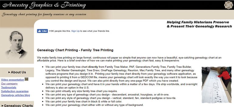 One of the five family tree chart printing services include Ancestry Graphics & Printing.