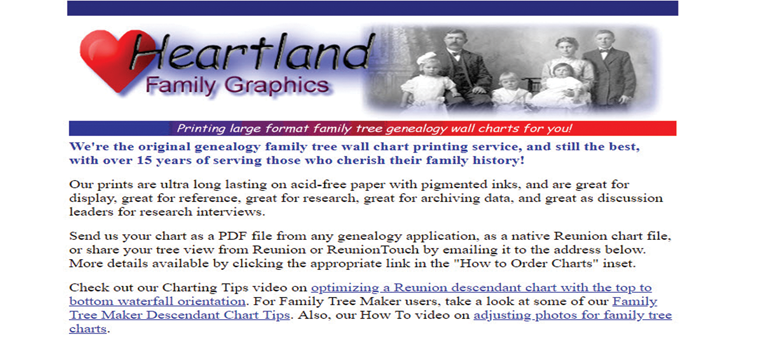 One of the five family tree chart printing services include Heartland Family Graphics.