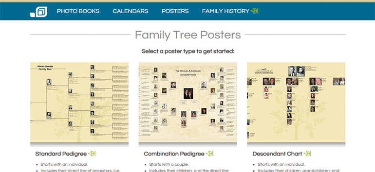 One of the five family tree chart printing services include MyCanvas by Alexander's.