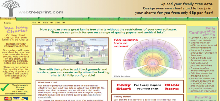 One of the five family tree chart printing services include Webtreeprint.