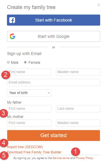 Begin your MyHeritage family tree by setting up your account.