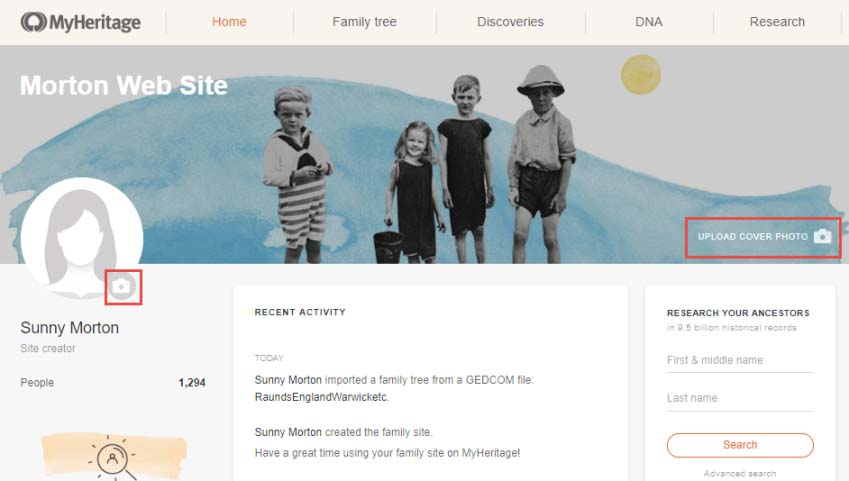 Your MyHeritage family tree doubles as a customizable family website, which you can customize.