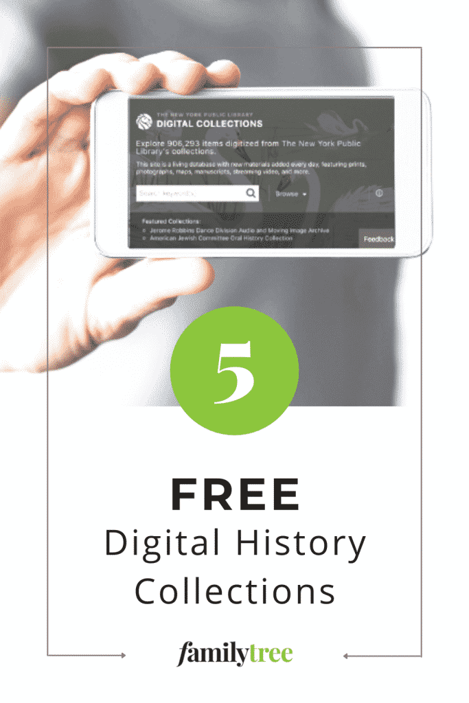 Pinterest pin for 5 Free Digital History Collections