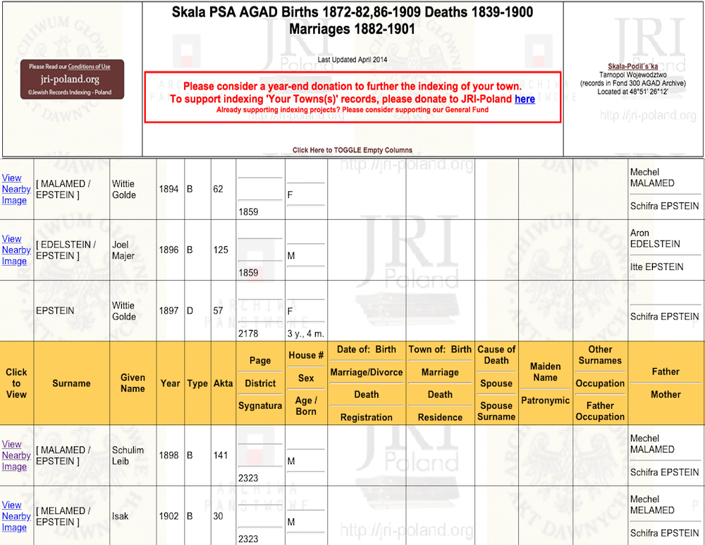 From the JRI-Poland database, you can view Ashkenazi Jewish genealogy records for your ancestor's town.