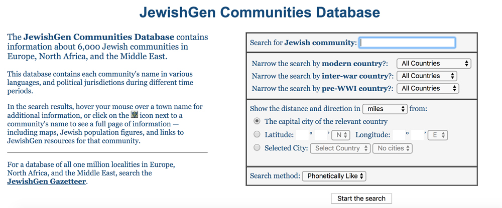 JewishGen's Communities Database or Town Finder feature, you can search for your ancestor's town and narrow your results within modern or historical country boundaries.