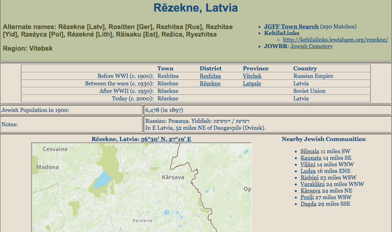 The detailed Communities Database entry for Rezekne provides several jumping-off points for research.