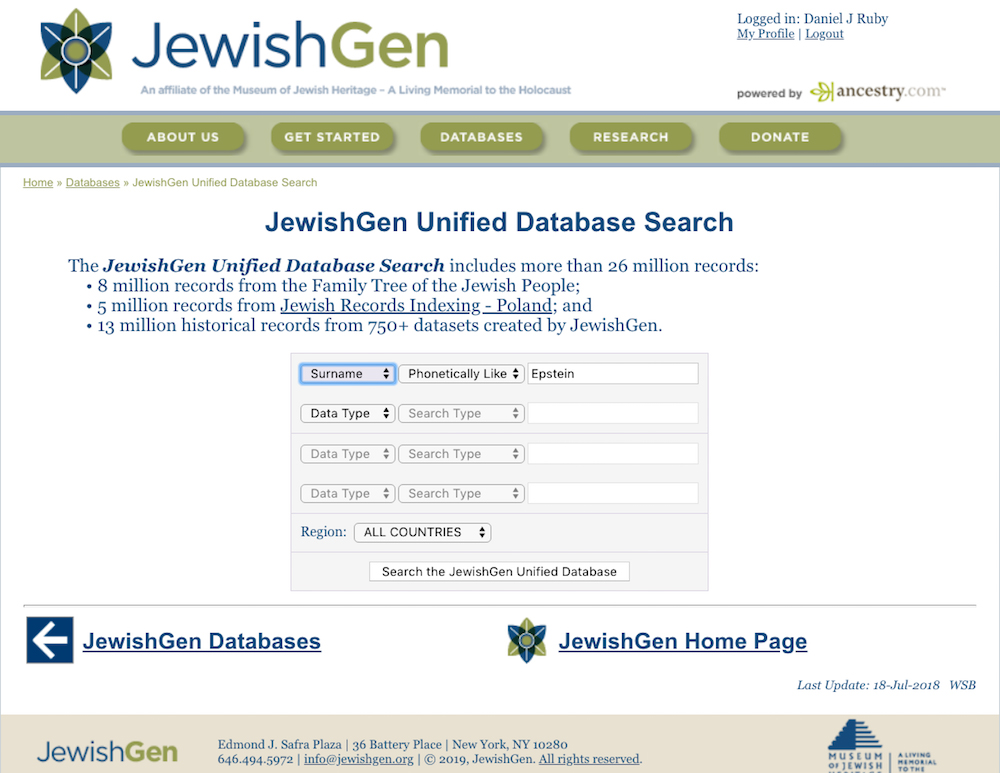 JewishGen's Unified Database Search page makes it easy to search for your ancestors by name.