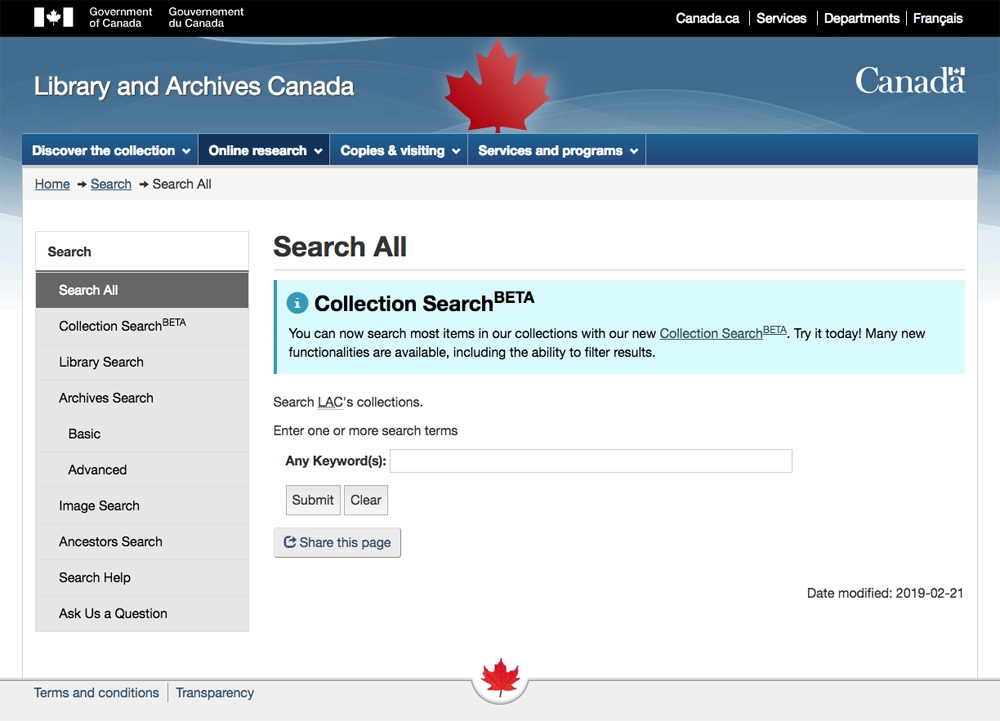 The Library and Archives Canada is a great free genealogy website for Canadian researchers. Dive into its collections from the Search All page.