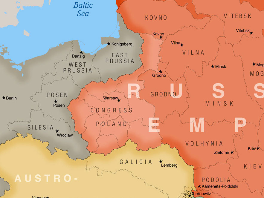 This map of Eastern Europe, which accompanies the Jewish history timeline, shows the region in 1900.