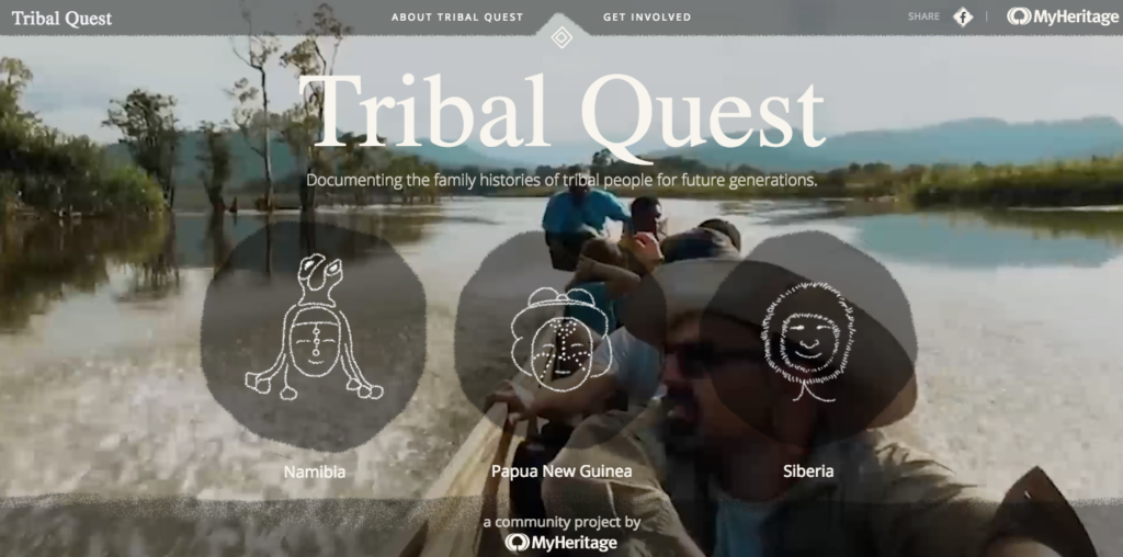 Screenshot of the Tribal Quest website, a pro-bono project from MyHeritage.