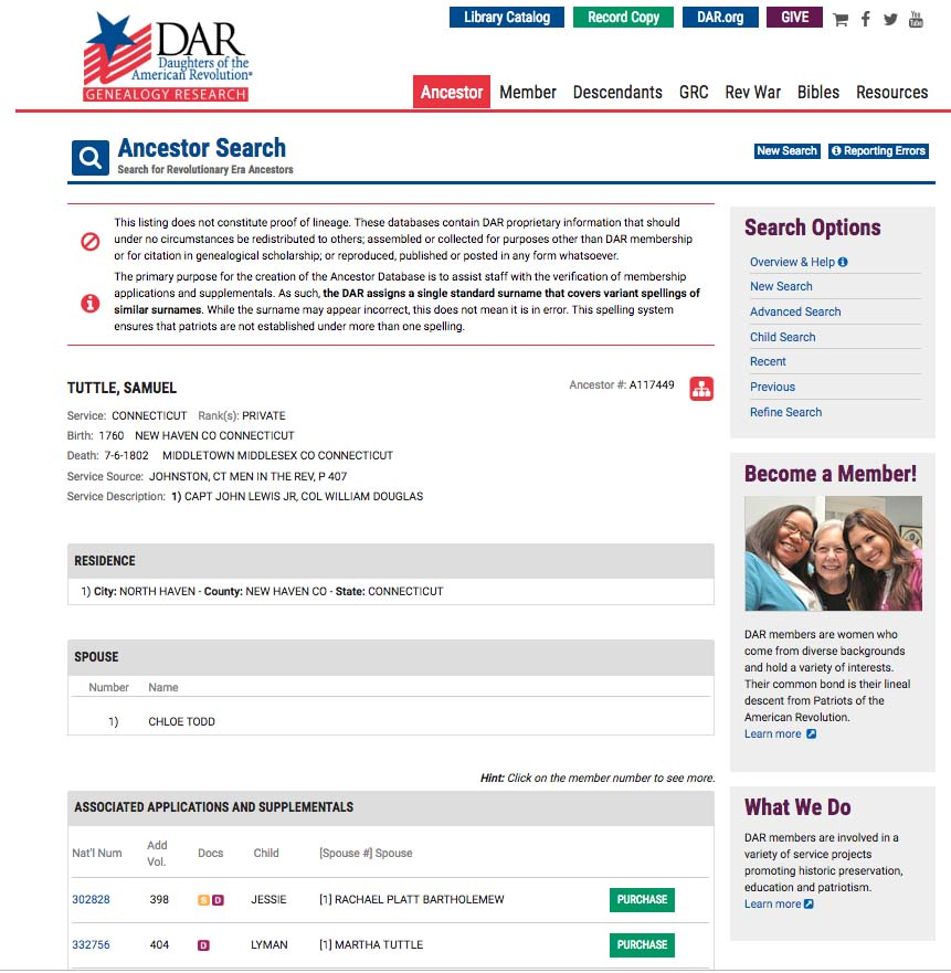 Track your Revolutionary War ancestors using the DAR's main search page.