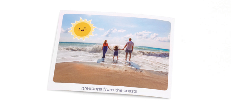 Repurpose family photos into holiday greeting cards to share your trip with loved ones.
