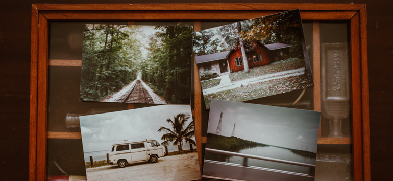 Use a sequence of family vacation photos to retell the story of your trip.